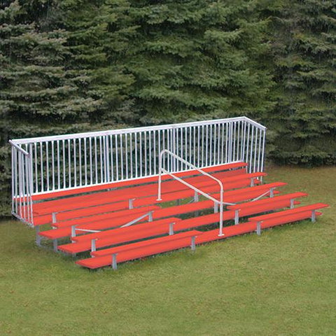 JayPro 5 Row Enclosed Bleacher w/ Guard Rail & Aisle Powder Coated