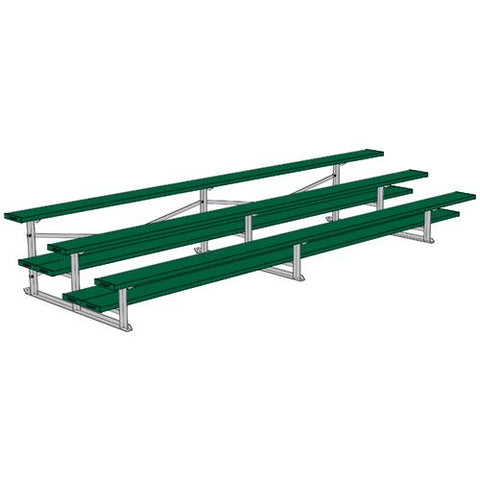 JayPro 3 Row 15' All Aluminum Preferred Bleacher Powder Coated Dark Green