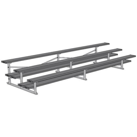 JayPro 3 Row 15' All Aluminum Preferred Bleacher Powder Coated Gray