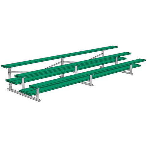 JayPro 3 Row 15' All Aluminum Preferred Bleacher Powder Coated Kelly Green