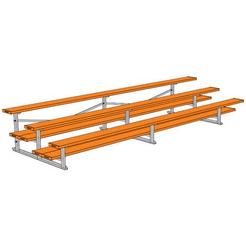 JayPro 3 Row 15' All Aluminum Preferred Bleacher Powder Coated Orange