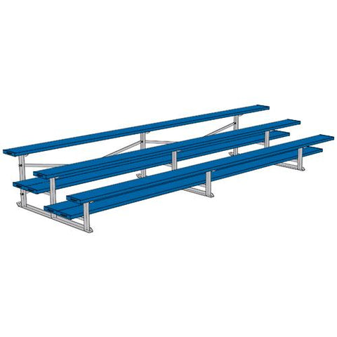 JayPro 3 Row 15' All Aluminum Preferred Bleacher Powder Coated Royal Blue