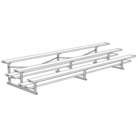 JayPro 3 Row 15' All Aluminum Preferred Bleacher Powder Coated White