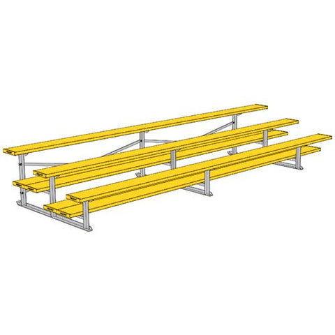 JayPro 3 Row 15' All Aluminum Preferred Bleacher Powder Coated Yellow