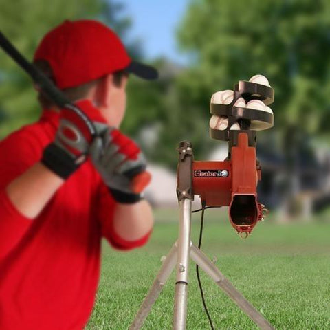 Heater Sports Jr. Real Baseball Pitching Machine With Ball Feeder - Pitch Pro Direct