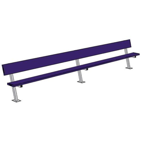 15' Player Bench w/Seat Back (Surface Mount) - Pitch Pro Direct