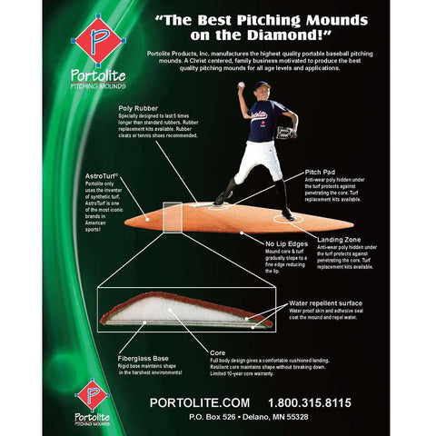 "Portolite 10"" Full Length Portable Game Pitching Mound"