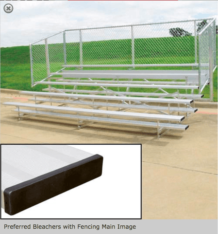 4 or 5 Row Preferred Aluminum Bleachers with Safety Fencing - Pitch Pro Direct