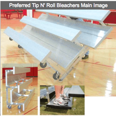 2-4 Row Preferred Tip N' Roll Portable Aluminum Bleachers - Pitch Pro Direct