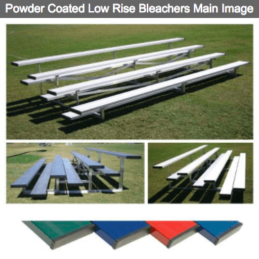 4 Row Powder Coated Low Rise Aluminum Bleachers - Pitch Pro Direct