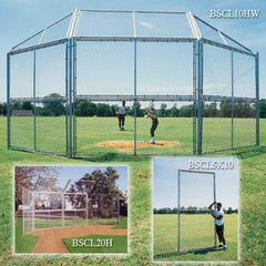 Chain Link Backstop - 10' W/ Hood & Wings - Pitch Pro Direct
