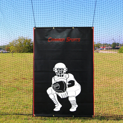 Cimarron Vinyl Backstop Net Protector Front View with Catcher Image