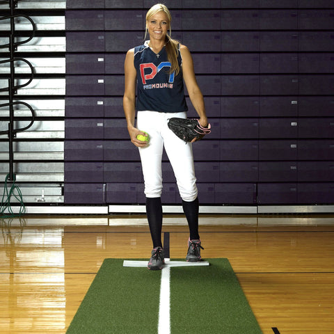ProMounds Jennie Finch Green Softball Pitching Mat With PowerLine - Pitch Pro Direct