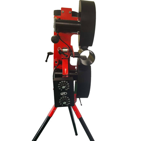 rawlings 2 wheel baseball pitching machine rear view closeup