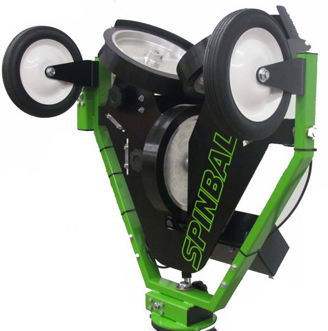 spinball 3 wheel pitching machine with transport wheels