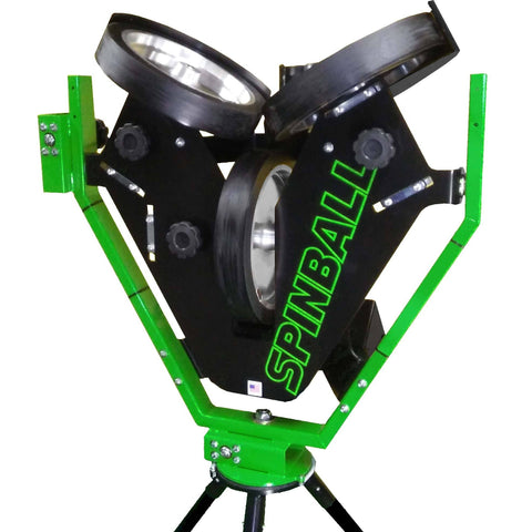 spinball 3 wheel pitching machine front view
