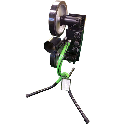 Spinball 2 wheel pitching machine for softball rear view