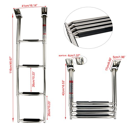 Amarine Made 4 Step Wide Steps Stainless Steel Telescoping Boat Ladder Swim Step More Durable Pedal