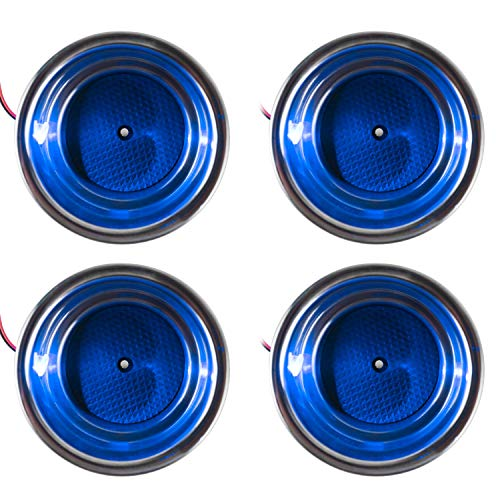 Amarine Made LED Blue Stainless Steel Cup Drink Holder with Drain & LED Blue Marine Boat Rv Camper
