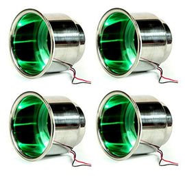 Amarine Made 4Pcs 3 LED Green Stainless Steel Cup Drink Holder with Drain & LED Blue Marine Boat Rv Camper - Green