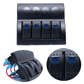 Amarine Made Blue Led 4 Gang Splashproof Waterproof Rocker Switch Panel Black with Blue LED Indicators for Boat Marine Bridge Control, Push Button Circuit Breakers Overload Protected, 12v 24v