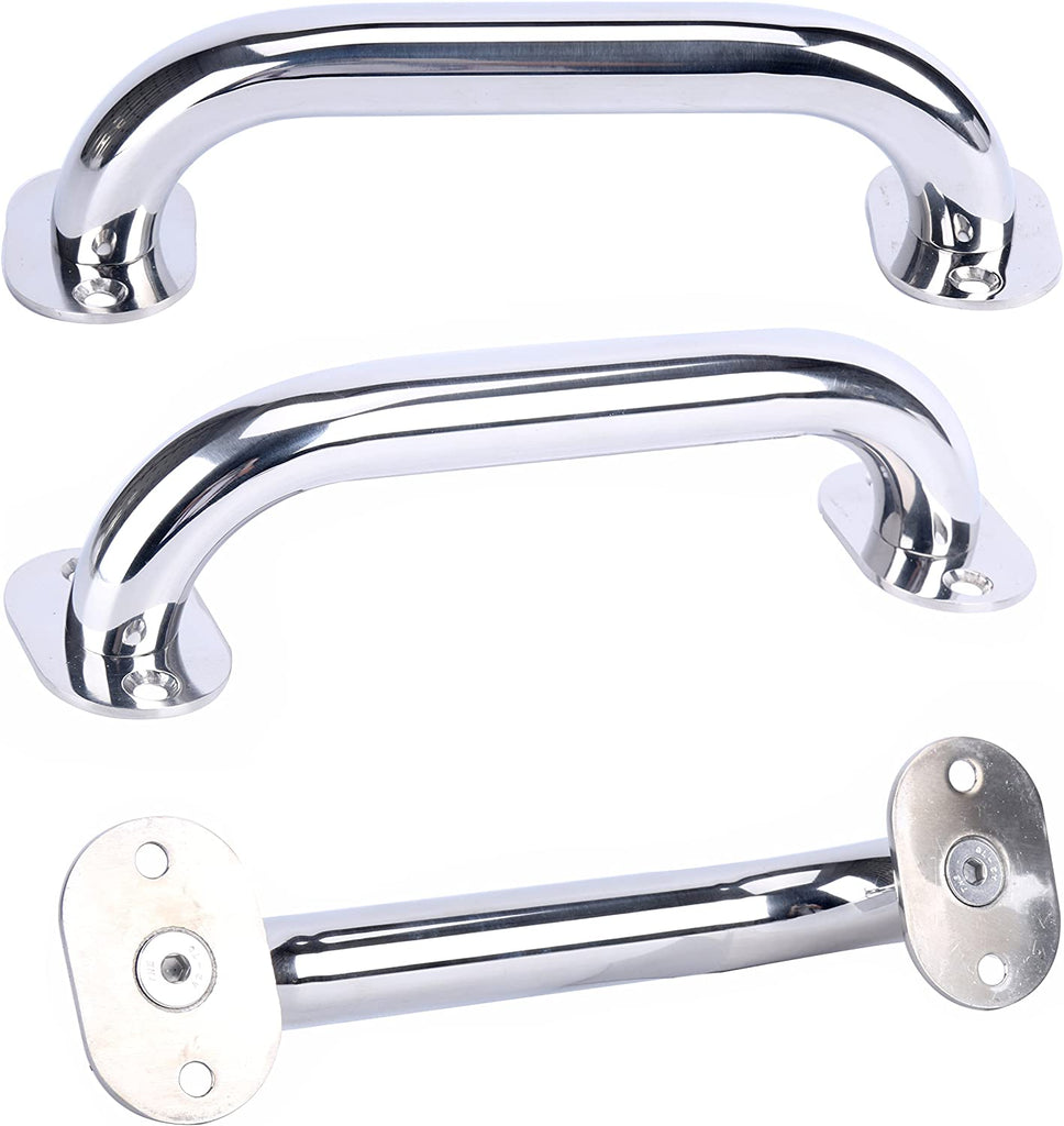 Amarine Made Stainless Steel Boat Handrail, Marine Rail, Grab Handle, Overall Length 9""
