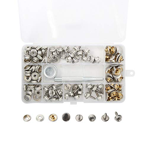 Amarine Made 120-Pieces Stainless Steel Boat Cover Snap Button Screw Fastener Kit with Setting Tool