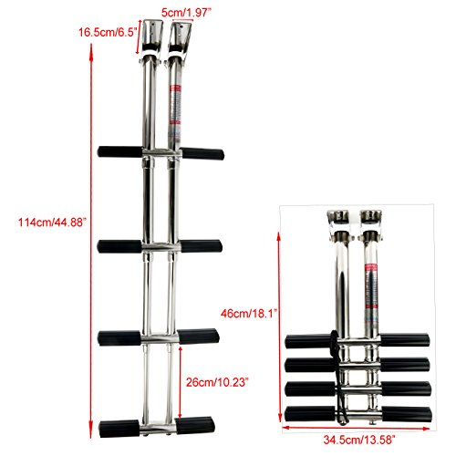 Amarine Made Heavy Duty 4 Steps Boat Marine Dual Vertical Telescoping Tube Stainless Steel Sport Diver Ladder - 4 Steps - 1084