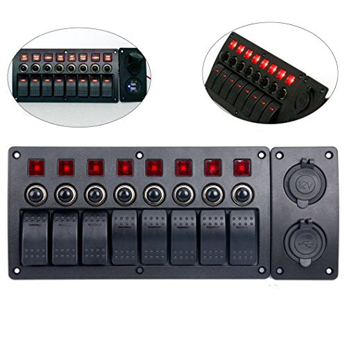 Amarine Made 8 Gang Red LED Indicators Rocker & Circuit Breaker Waterproof Marine Boat Rv Switch Panel Combined with Dual USB / 12v Power Adapter Panel - PN-CB8-R-CB1/S1S2