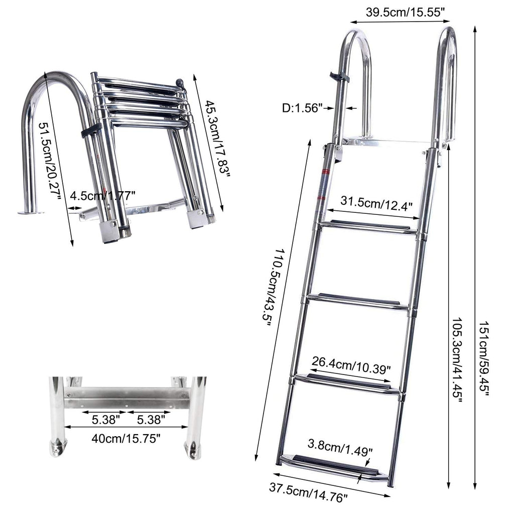 Amarine Made 4 Steps Removable Premium Stainless Folding Rear Entry Pontoon Boat Ladder