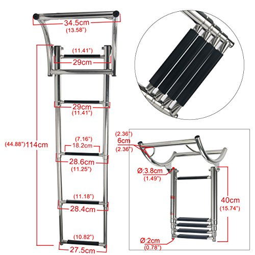 Amarine Made 4 Step Rib Ladder Stainless Steel Telescoping Swim Step Rubber Boat Ladder