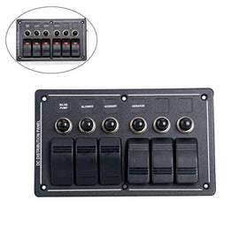 Amarine Made 6 Gang Aluminium LED Rocker & Circuit Breaker Waterproof Marine Boat Rv Switch Panel - AMLB6Z