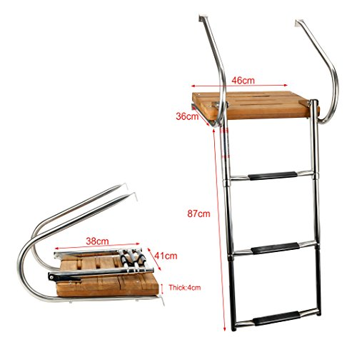 Amarine Made Boat in-Board Swim Teak Platform with 3-Steps Stainless Ladder