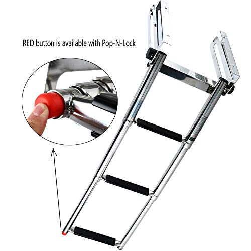 Amarine-made 3-Step Under Platform Telescoping Slide Mount Boat Boarding Ladder, Stainless Steel Marine Ladder - 9925S3