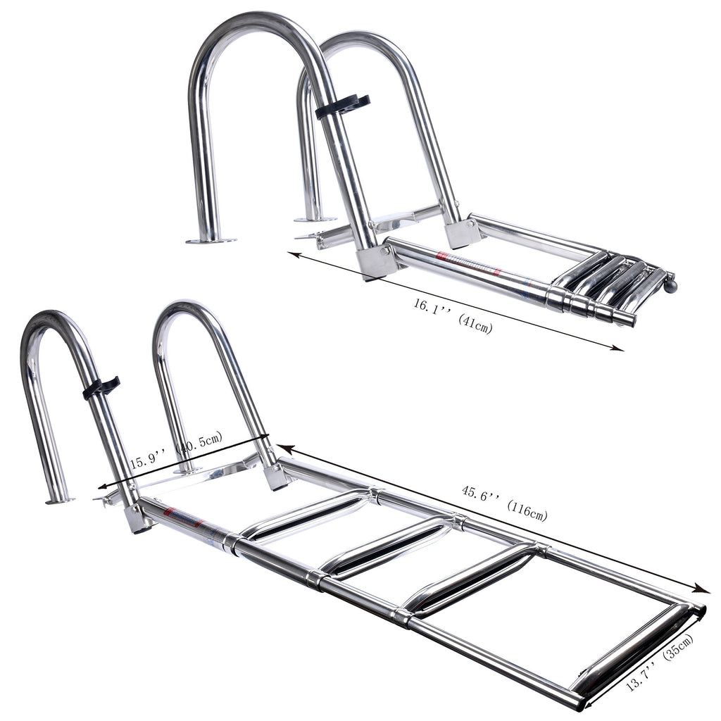 Amarine Made 4 Steps Stainless Folding Rear Entry Boat Ladder w/Extra Wide Step