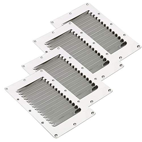"Amarine Made Stainless Steel Stamped Louvered Vent - Rectangular - 07720S - 5"" X 9"""