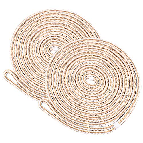 Amarine Made 2pcs 3/8 Inch 15 FeeT Double Braid Nylon Dockline,Mooring Rope Double Braided Dock Line