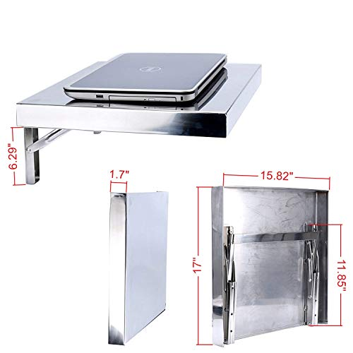 Amarine Made Workstation, Stainless, Wall-Mount Folding, Laptop,PC Desk