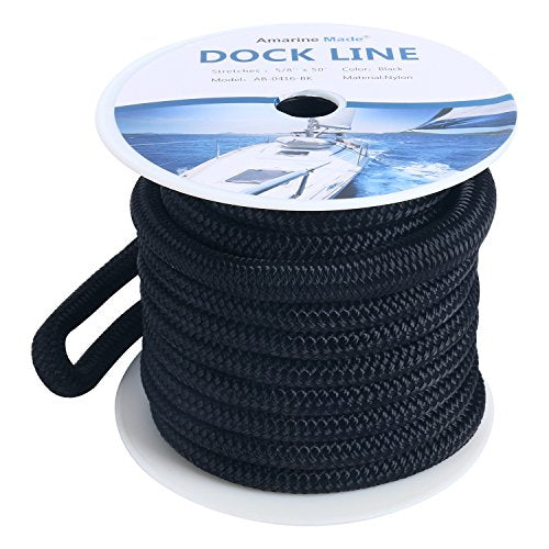 Amarine Made 5/8 Inch 50 FT Double Braid Nylon Dockline Dock Line Mooring Rope Double Braided Dock Line, Color: Black, White, Blue, Red