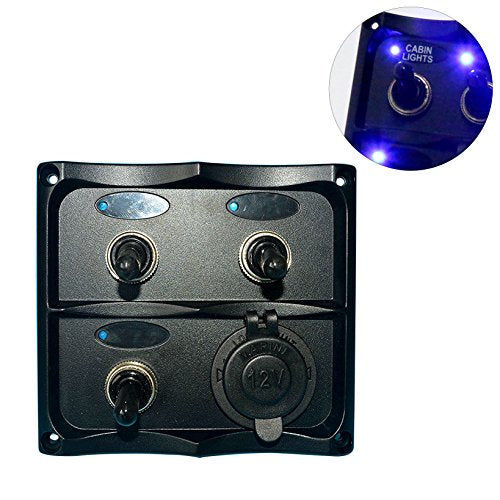 Amarine Made PN-TF3J-S Marine Electric 3 Gang Led Toggle Switch Panel with 1 Power Socket for Boat and RVS - PN-TF3J-S