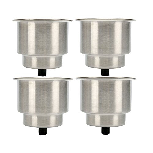 Amarine made 4pcs Stainless Steel Cup Drink Holder with Drain for Marine Boat RV Camper