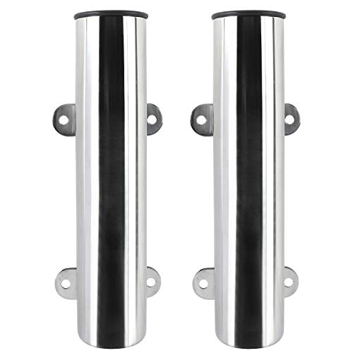 Amarine Made Boat Marine Fishing Stainless Steel Side Mounted Transom Mounted Rod Holders with Weld Brackets (2-Pack)
