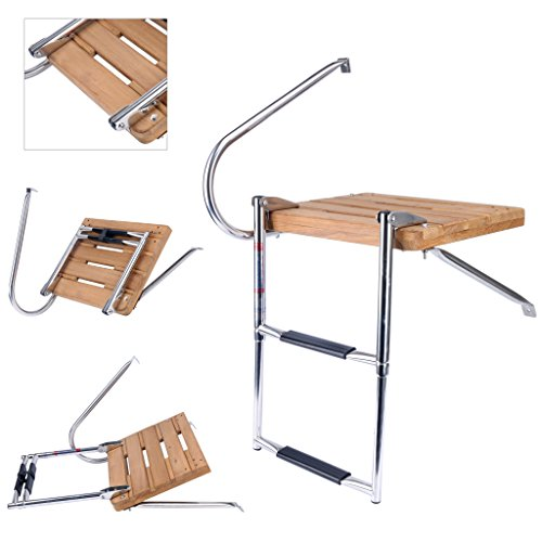 Amarine Made Boat Out-Board Swim Teak Platform with 2-Steps Stainless Ladder