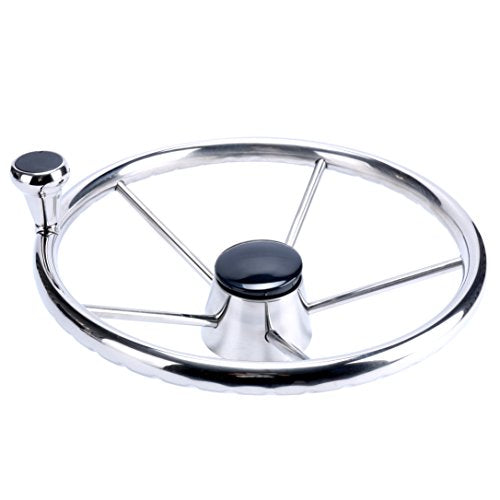 Amarine Made 5-Spoke 13-1/2 Inch Destroyer Style Stainless Boat Steering Wheel with Big Size Knob