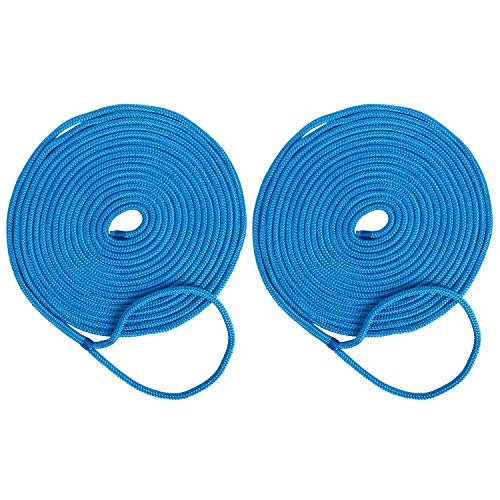 Amarine Made 2-Pack 1/2 Inch 35 FT Double Braid Nylon Dockline Mooring Rope Double Braided Dock Line