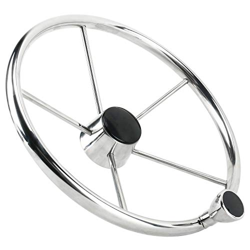 Amarine Made 5 Spoke 25 Deg Stainless Steel Boat Steering Wheel with Control Knob