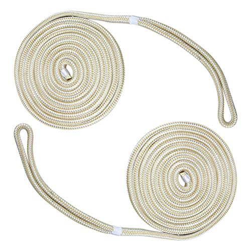 Amarine Made 2 Pack of 3/4 Inch 50 Feet Double Braid Nylon Dockline Mooring Rope Double Braided Dock Line,Working Load Limit:1900LBS,Breaking Strength:9500LBS