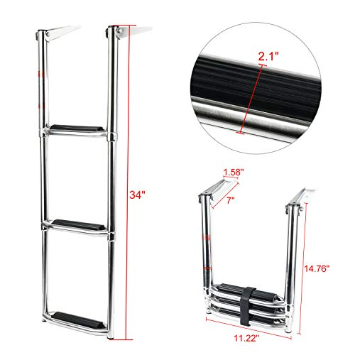 Amarine Made 3/4 Step Wide Steps Stainless Steel Telescoping Boat Ladder Swim Step