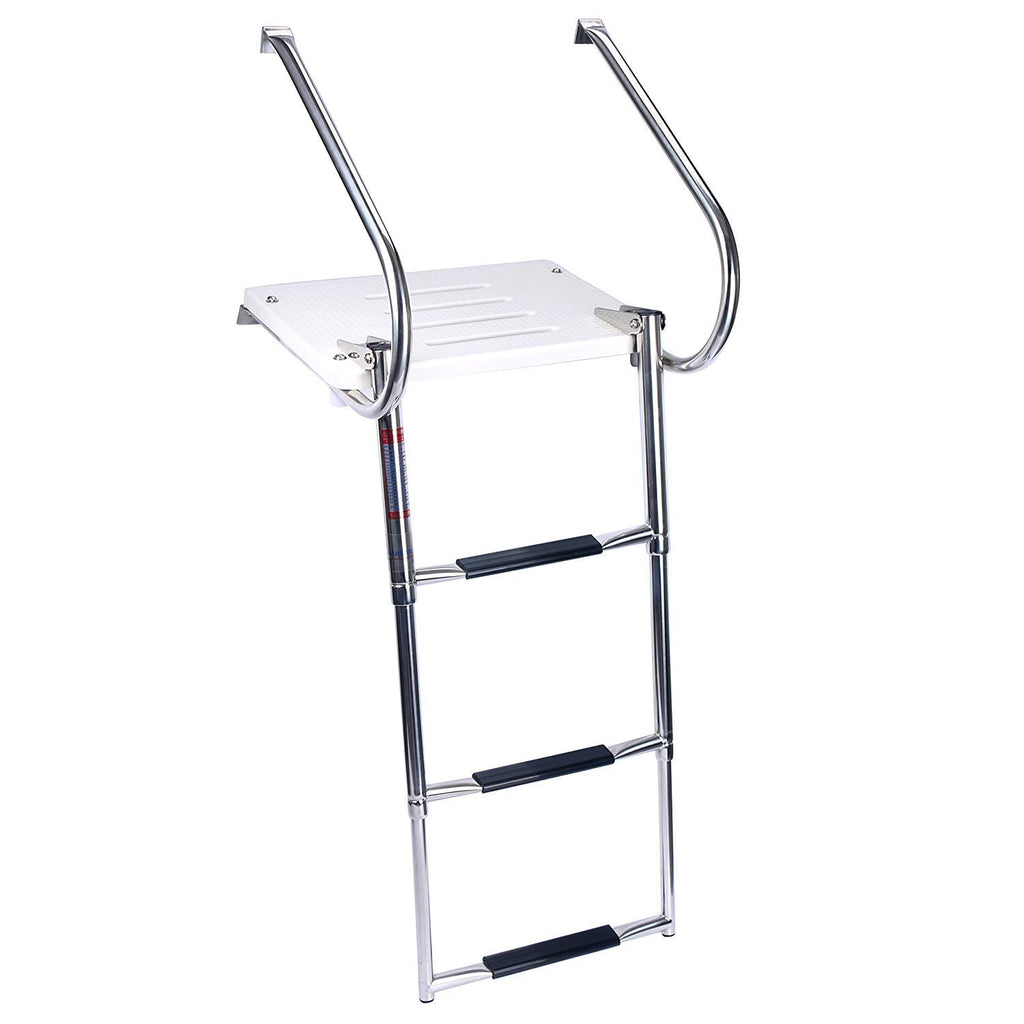 Amarine Made Boat in-Board Swim Polyethylene Platform with 3-Steps Stainless Ladder