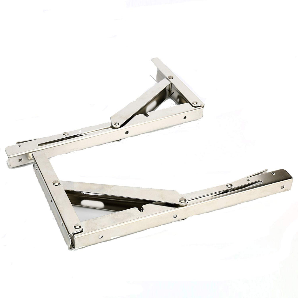 Amarine Made 2 PCS Heavy Duty Stainless Steel Folding Shelf Bench Table Folding Shelf Bracket, Max Load: 660lb/300kg, Long Release Arm